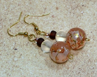 Amber and Gold Dangle Earrings - Elegant Painted Glass Bead Earrings, Nickle-Free Ear Wires, Handmade in the USA, Ready to Ship