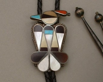 Sale Vintage STERLING Native American  BOLO Tie Large ZUNI Thunderbird Turquoise Coral Pen Shell Pearl Sterling Tips Bennett Clip Signed