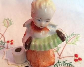 Christmas Candle holder,  Vintage Angel,  Taper Holder,  Musical Angel, Made in Japan