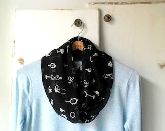 Lightweight scarf, infinity scarf, spring accessories, black scarf