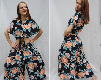 Tops wide pants Tied  top Black turquoise Flower print Summer set Tied Blouse Cropped top Floral print top Roses top Womens trousers L - XL