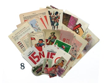 Red themed paper ephemera pack, 30 pieces. Mix of text pages, games pieces, collectable cards, map pieces for art and collage. (8b)