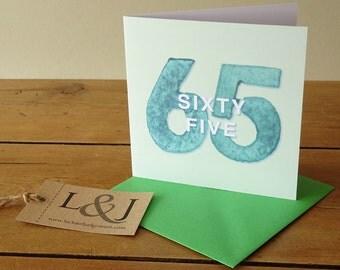 65th Birthday - 65th Birthday Card - Sixty Fifth - 65th Birthday Idea - 65 - Sixty Five - 65 Birthday