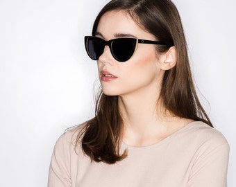 Wooden Cat Eye Sunglasses, Black Maple Wood Sunglasses, Birch Wood Polarized Sunglasses | Sunglasses For Women | Womens Sunglasses