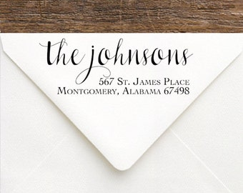 Custom Rubber Stamp - Calligraphy Return Address Stamp - Newlywed Stamp -  Handwriting Family Name Stamp - Engagement Gift New House