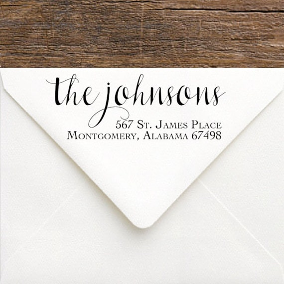 Custom Rubber Stamp Calligraphy Return Address Stamp
