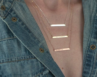 Personalized Jewelry - Girlfriend Gift, Thin Personalized OR Blank Bar Necklace, Thin Layering Necklace Personalized For Her, Women's Gift