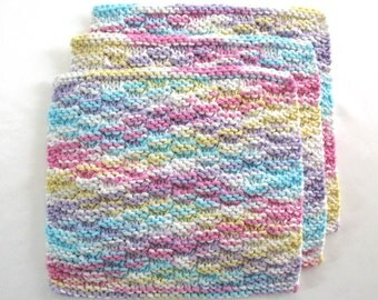 Knit Cotton Washcloths, Knitted Washcloths, Face Cloths, Facial Wash Cloths, Pastel Rainbow Washcloths, set of 3