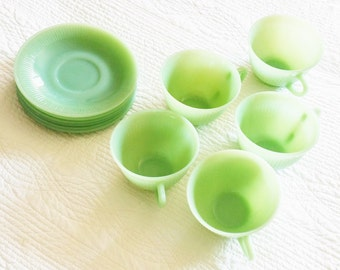 Vintage Country Home Celadon Green Jadeite Cups and Saucers, 11 Piece Set, Olives and Doves