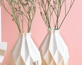 Geometric vase, White ceramic vase, Origami inspired , flower vase, Modern home decor vase, Holiday gift, Housewarming gift