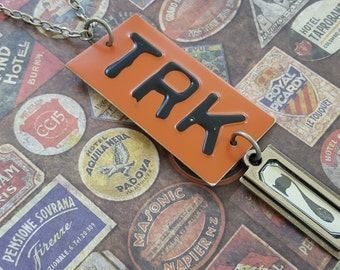 """Sale! Industrial Chic, Found Objects Necklace with Metal """"TRK"""" Plate Pendant Painted Rust and Tim Holtz #7 Pewter Metal Tag on 33 Inch Chain"""