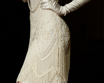 1920s wedding dress etsy ivory beaded vintage flapper 1920s wedding dressthe great gatsby downton abbey vintage junglespirit Images