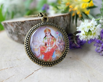 Durga Mother of Universe Hindu Goddess Necklace, Antique Bronze Pendant,Glass Cabochon Pendant With Chain