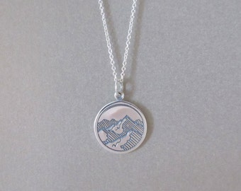 Mountain Pendant Necklace - Silver Necklace - Outdoors Jewelry - Hiker Jewelry