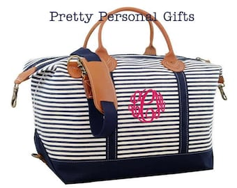 Weekender Bag - Navy Stripe Canvas Tote bag with monogram