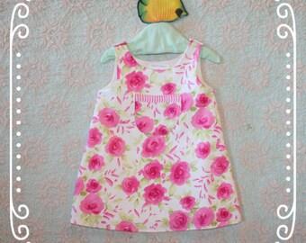 Little Girls Pink Dress, Toddler floral dress, Toddler pink dress, AngelfishDresses, Girls A line dress, Girls church dress, Toddler size 3