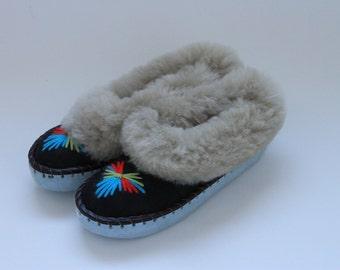 Light grey sheepskin slippers