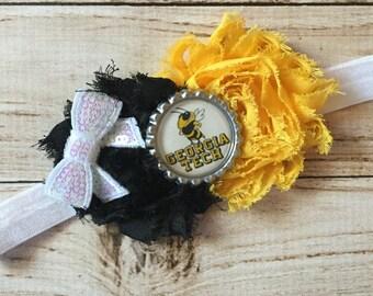 Georgia Tech Yellow Jackets inspired headband