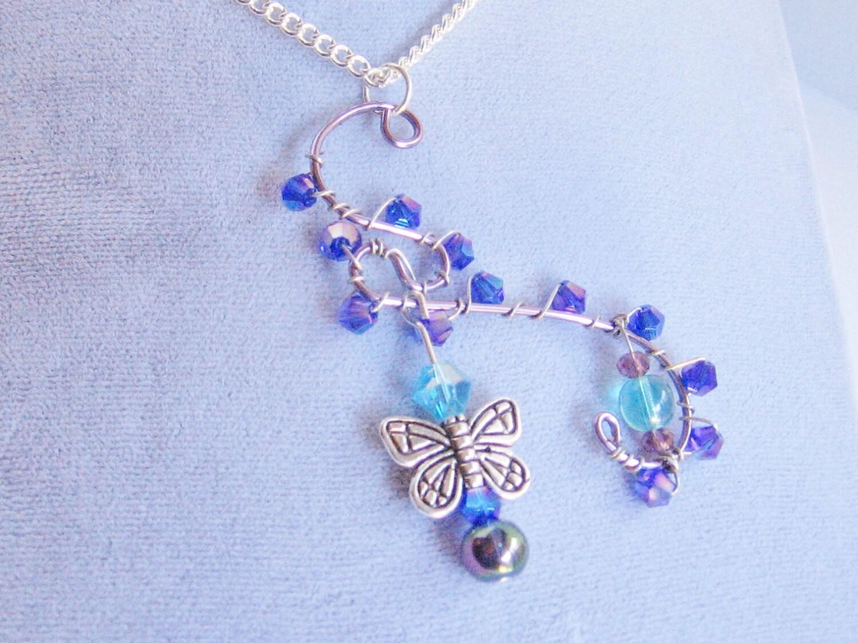 Blue Butterfly Jewelry: Blue Butterfly Sparkle Pendant Butterfly Jewelry Butterfly