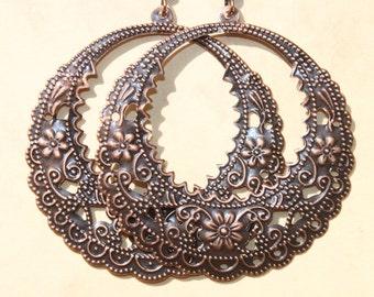 Copper Earrings Filigree Dangle Hoop Earrings Bohemian Earrings Jewelry Light Earrings Gift Ideas Gift for her