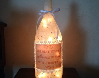 Wine with friends bottle lamp, accent lamp, gift for wine lover, night light, wine bottle lamp