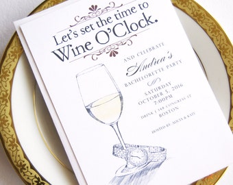 Bachelorette Party Invitations, Wine O'clock, Watercolor, Hand Drawn (set of 25 cards)