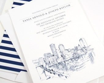 Boston Water View Wedding Invitation Package (Sold in Sets of 10 Invitations, RSVP Cards + Envelopes)