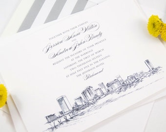 Richmond Skyline Wedding Invitations Package (Sold in Sets of 10 Invitations, RSVP Cards + Envelopes)