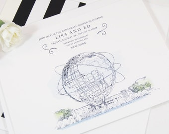 Queens Museum Skyline Rehearsal Dinner Invitations (set of 25 cards)