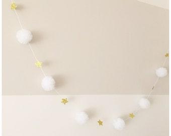 Tulle pompom stars garland christmas home decor