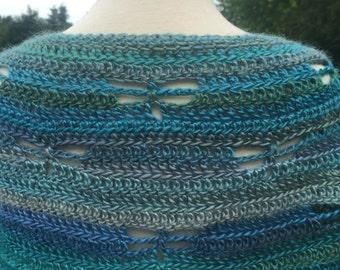 Dragonfly shallow crescent shawl
