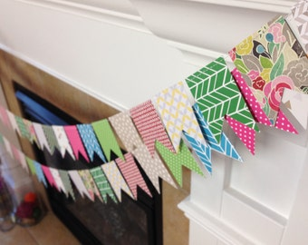 Mini Pattered Bunting || Mini Banner || Spring Banner || Easter || Geometric || Floral || Party Decorations || Summer Banner