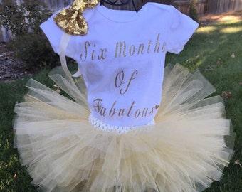 6 Month Tutu Onesie Set, Half Birthday Onesie, Six Months Of Fabulous Birthday Shirt, Baby Girl Tutu and Onesie, Baby Onesie, 6 Month Set