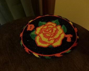 Beaded belt buckle, Rose beaded belt buckle, hand beaded belt buckle, One of a kind belt buckle, beaded buckle, gift for him, gift for her