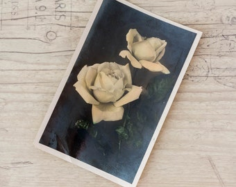 Vintage photo card Colored black and white postcard Vintage photography Collectible card Flower postcard
