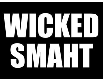 New Black Sticker Decal Wicked Smaht Smart Boston Accent Funny Joke Humor New England Yankee