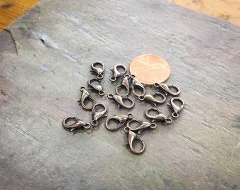200 Pcs Antique Copper Plated Brass Lobster Clasp 12mm x 7mm / Necklace or Bracelet Clasp Closure / BULK Lobster Clasp / Z802-200