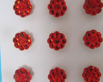 Vintage 1930's Red Glass Buttons