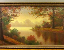 Landscape Scenery / Art / On Canvas / Fall Trees / River Landscape / Rectangular Art / Wooden Frame / Red and Green