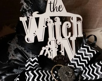The Witch Is In, Decorative Witch's Hat with Ribbons, Feathers & Embellishments