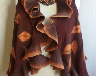 Fall leaf felt vest - fall felted vest shrug - women nuno felted ruffled waistcoat - brown  orange wool women vest - nuno felt clothing