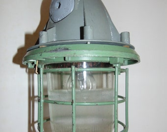 Big Vintage Russian Industrial Ceiling Explosion Proof Bunker Light, Steel Grill in Green Grey Rewired  New Fittings, Flex & Chain 1970's.