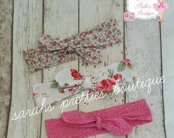 Set of 3 floral headwraps