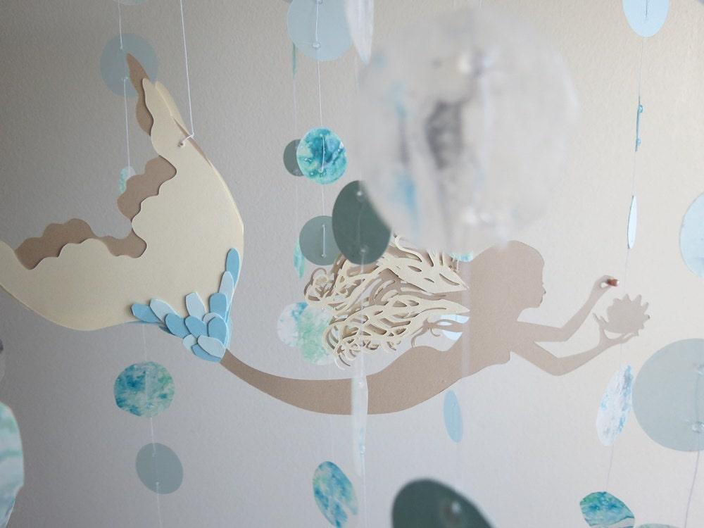 Mermaid Mobile Home Decor Blue And Ivory Beach Themebaby