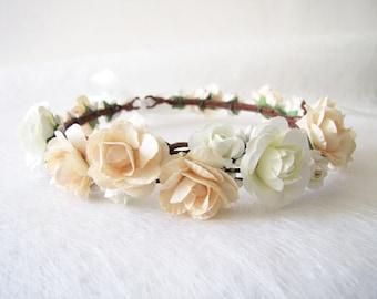 Champagne Color Wedding Floral Crown, Wedding Flower Headband, Floral Head Wreath, Bridesmaid Floral Crown, Flower Girl Floral Crown