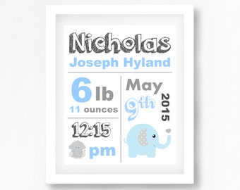 Birth Announcement Art, Birth Print, Personalised Baby Gift, New Baby Boy Gift, Blue Grey Nursery Decor, Elephant Birth Announcement Art