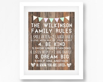 Family Rules Print, Home Decor Print, Housewarming Gift for New Home, Rustic Home Decor, House Rules, Personalized Housewarming Gift