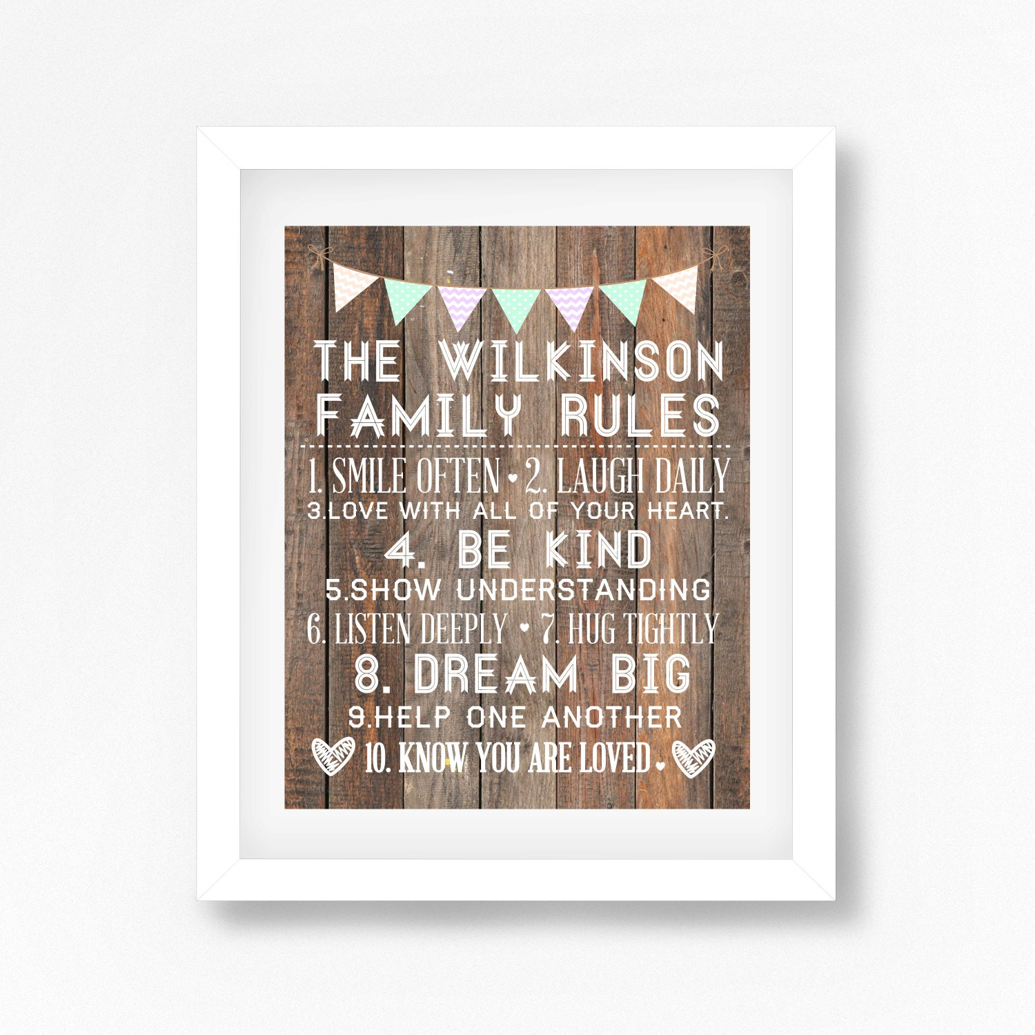Family rules print home decor print housewarming gift for for Home decorating guidelines