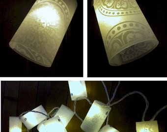 20 LED light chain with handmade lampshades