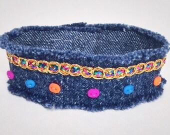 Beaded Denim Wrap Bracelet, Recycled Blue Jeans Bracelet, Fabric Ribbon Braclet, Upcycled Bohemian Cuff Bracelet, Frayed bracelet for Women